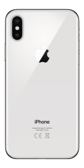Refurbished iPhone X 64GB Zilver achterkant